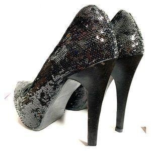 Black Sequin Heels